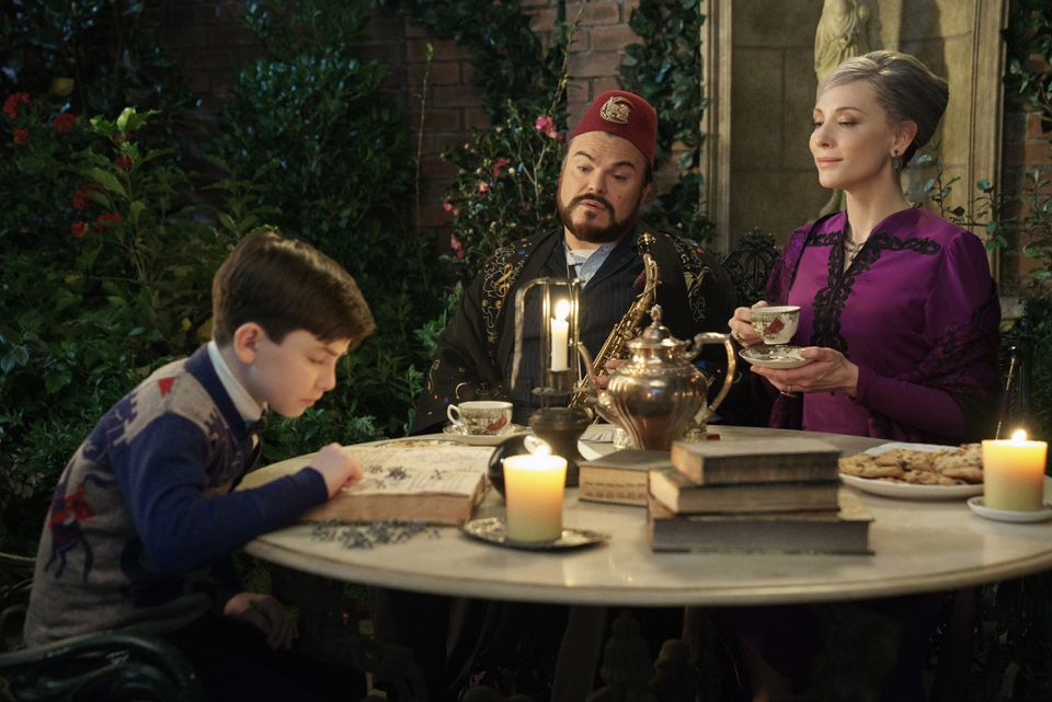 """Owen Vaccaro (left), Jack Black, and Cate Blanchett in """"The House With a Clock in Its Walls."""""""