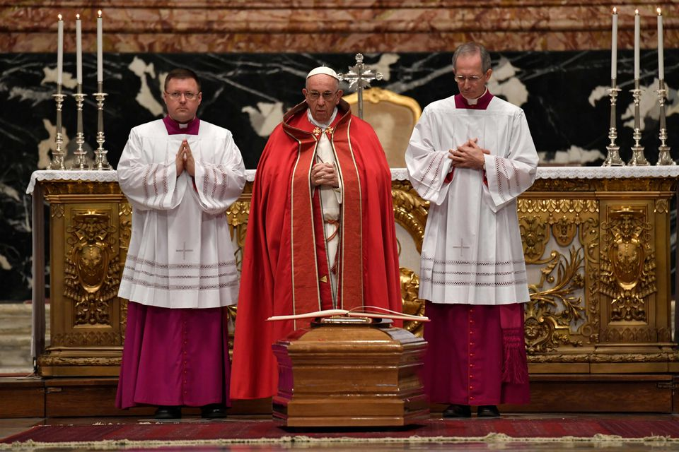 Pope Francis (center) attended the funeral mass of Cardinal Bernard Law at St. Peter's basilica in Vatican.