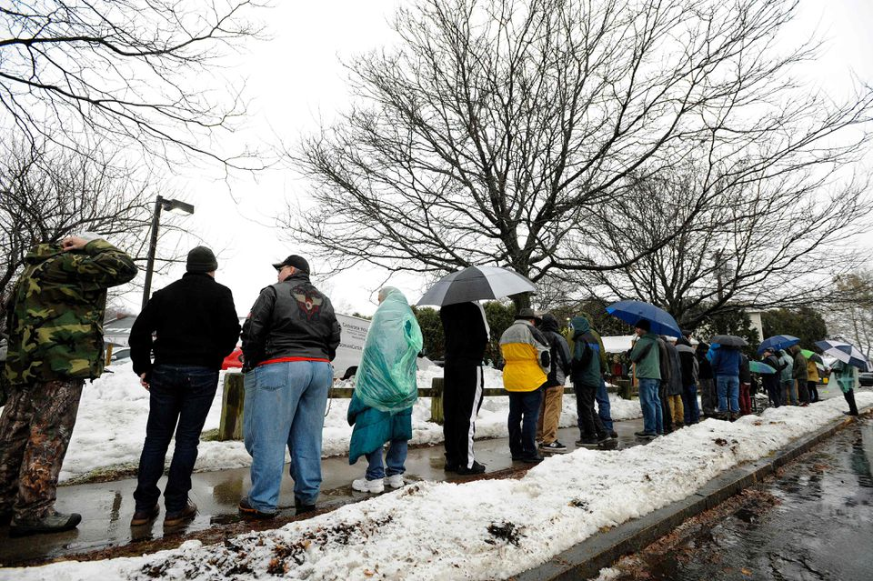 People waited in line for hours on the opening day of sales of marijuana to the general public at a site in Northampton in November 2018.