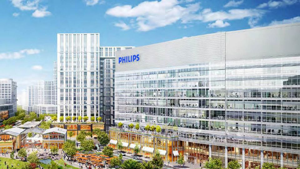 Philips NV said it will lease about two-thirds of a 430,000-square-foot office and lab building at Cambridge Crossing for about 2,000 employees.