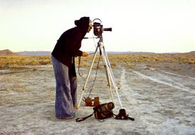 """Nancy Holt shooting the film about the construction of """"Sun Tunnels.''"""