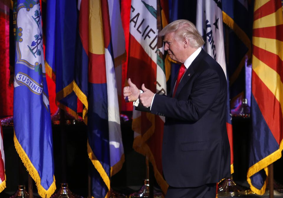 Donald Trump took to the stage in New York early Wednesday.