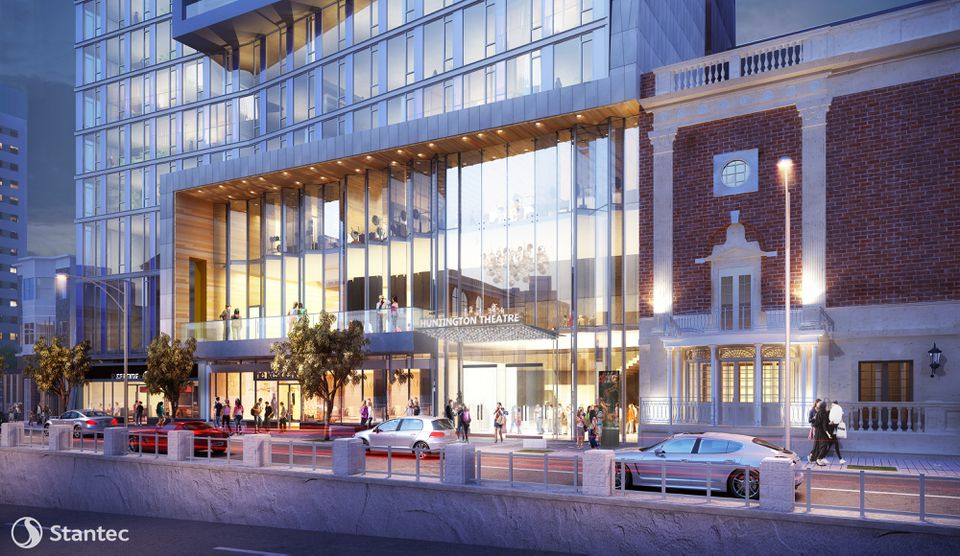 A rendering of the new entrance to the Huntington Theatre on the ground floor of an apartment tower approved by the Boston Planning & Development Agency.