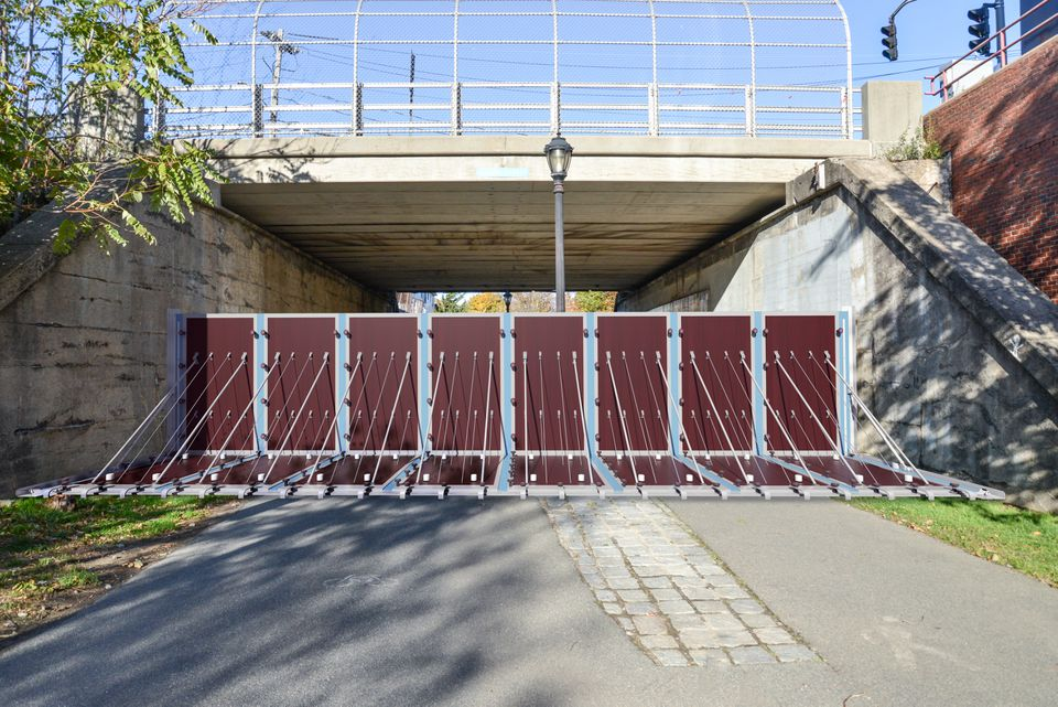 A deployable flood barrier at the mouth of the Greenway in East Boston.