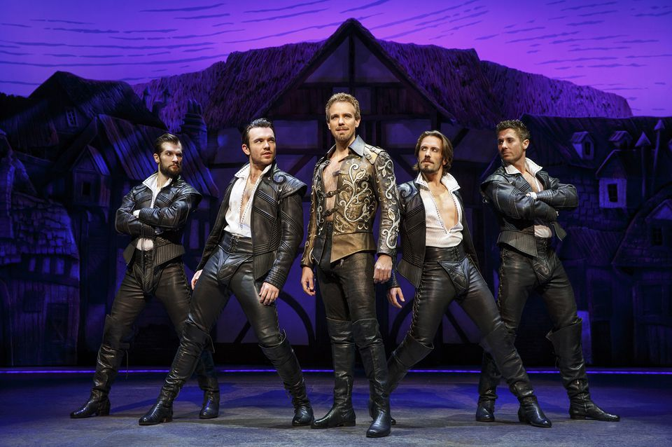 """Adam Pascal (center) with Ryan VenDenBoom, Max Clayton, Eric Sciotto, and Aleks Pevek (left to right) in """"Something Rotten!"""""""