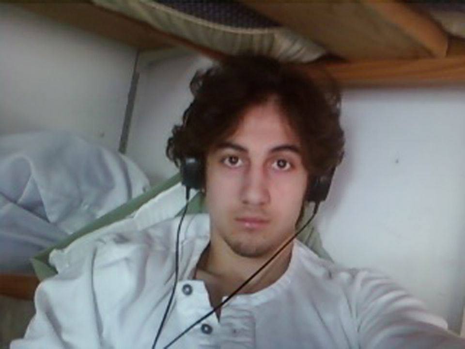 This photo taken of Dzhokhar Tsarnaev on March 23, 2015, courtesy of the US Department of Justice/US Attorney's Office District of Massachusetts, was presented to jurors in Boston.