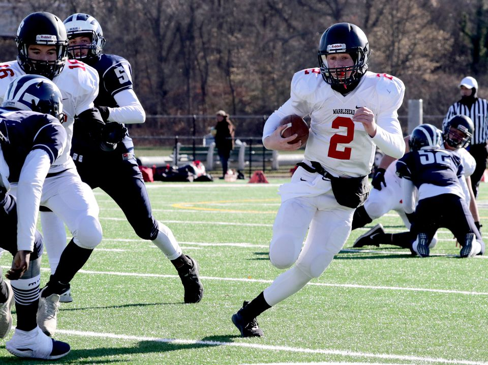 Marblehead's Chris Gally (2) ran for three touchdowns — in borrowed sneakers.