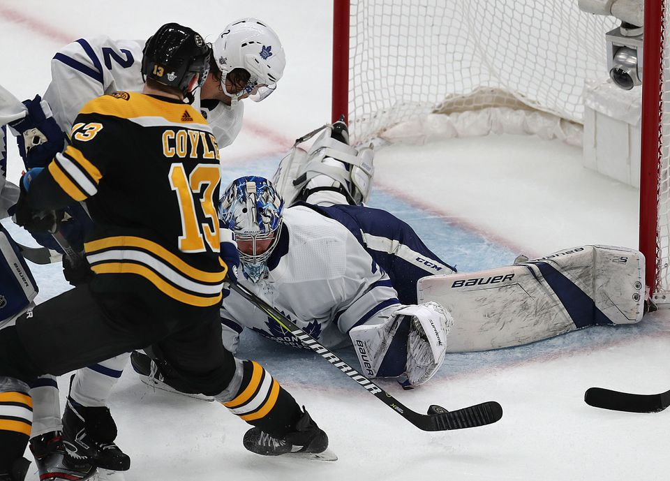 Charlie Coyle couldn't get his stick on this golden chance in the third period, epitomizing the Bruins' struggles in Game 5.