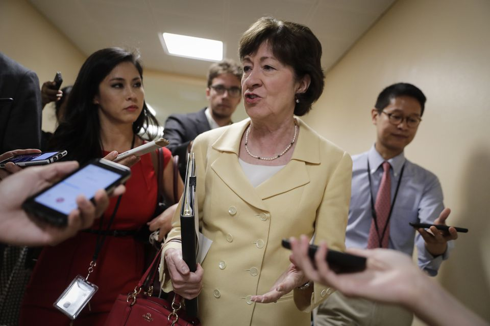 """Tweeted US Senator Susan Collins, Republican of Maine: """"I want to work w/ my GOP & Dem colleagues to fix the flaws in (the Affordable Care Act.) CBO analysis shows Senate bill won't do it."""" Above: Collins at the Capitol last week."""
