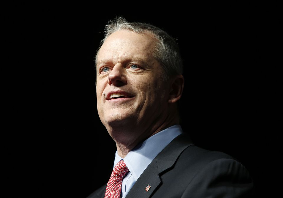 Governor Charlie Baker at the Massachusetts Republican Convention at the DCU Center in Worcester, on April 28.