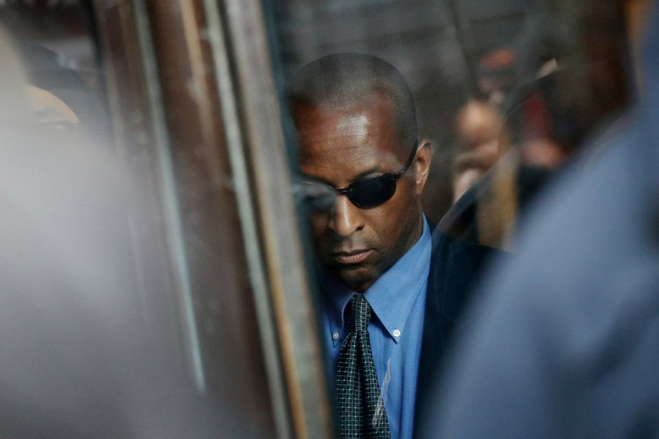 Former Yale soccer coach Rudolph Meredith (pictured outside federal court in March) pleaded guilty to soliciting more than $800,000 in bribes from 2015 to 2018. He was one of many endowed coaches at Yale.