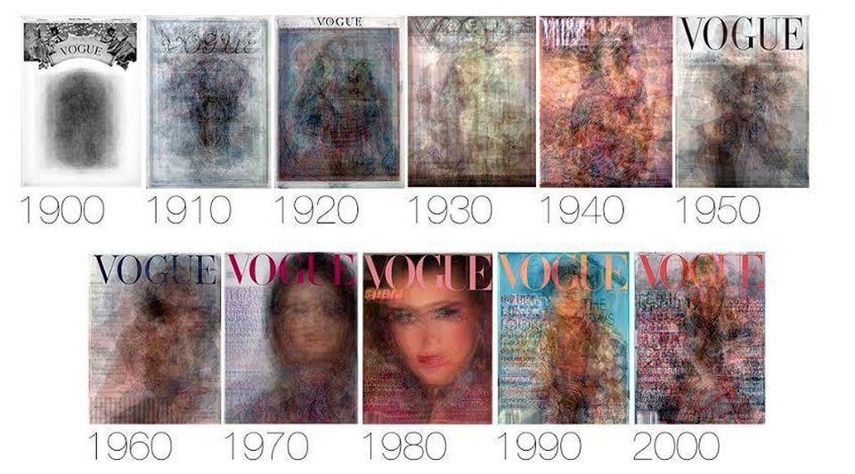 Layered transparencies of Vogue covers for different years.