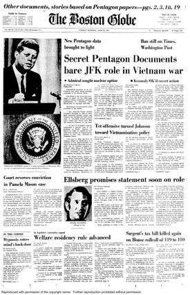 The Boston Globe was the third newspaper in the United States to publish excerpts from the Pentagon Papers.