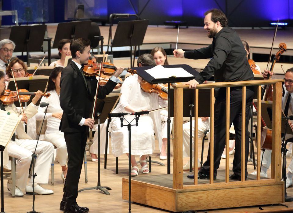 Daniel Lozakovich performed with Andris Nelsons and the Boston Symphony Orchestra at Tanglewood in July 2017.