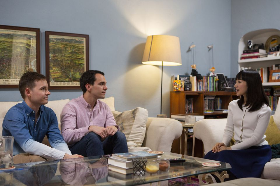 Marie Kondo with Frank and Matt, who sought her help for tidying up their Los Angeles apartment.