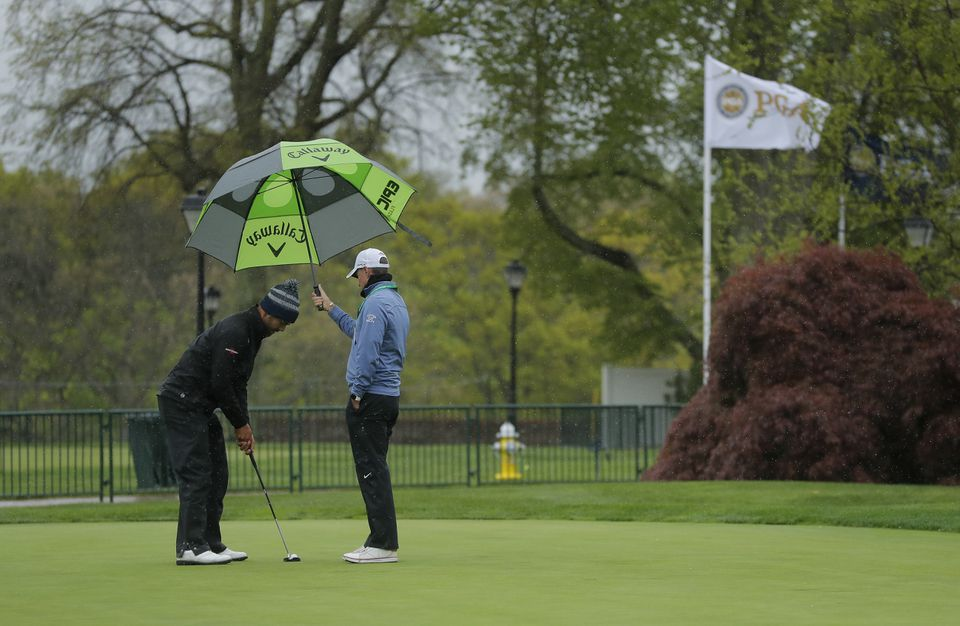 Protection was required on the practice putting green.