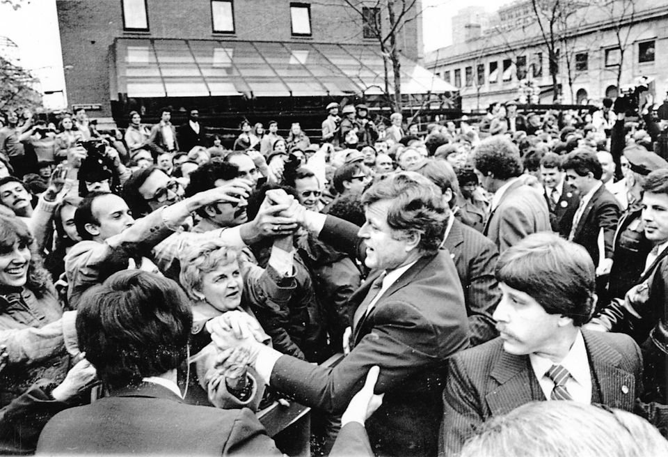 Senator Edward Kennedy shook hands outside Faneuil Hall in 1979 when he announced his decision to run for president. A draft movement helped sway Kennedy to run.