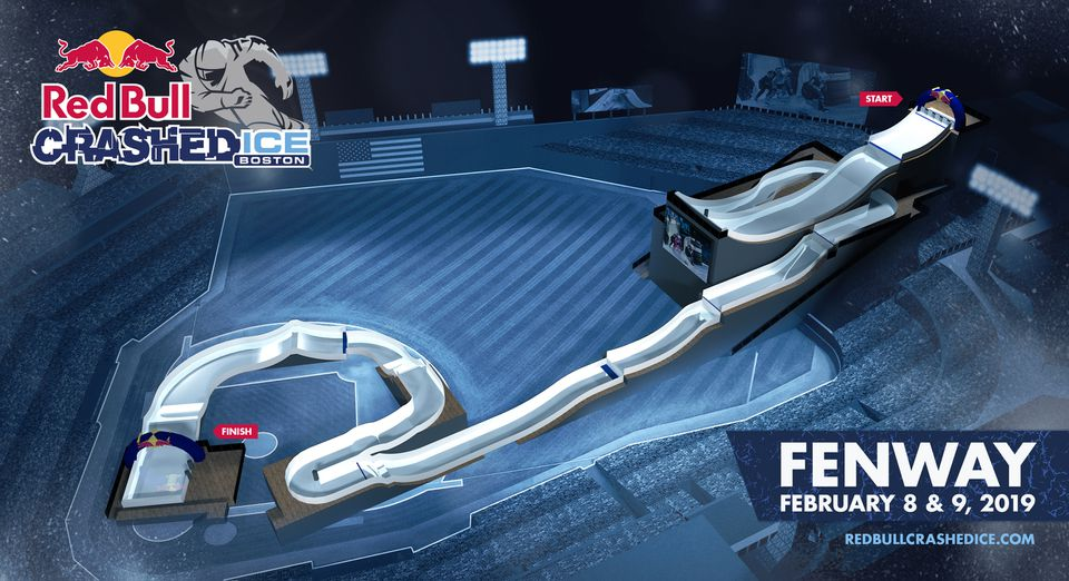 A rendering of the ice cross downhill course to be put in place at Fenway Park next February.