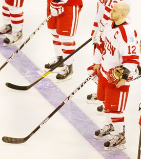 Captain Chris Connolly (12) has been helping BU toe the line since the loss of two of the team's top players.