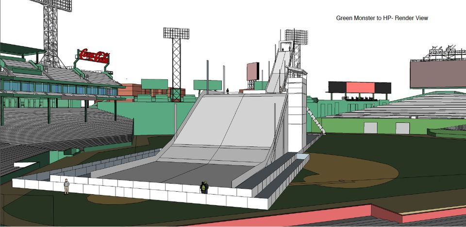 An artist's rendering shows what a big air ramp at Fenway Park might look like.