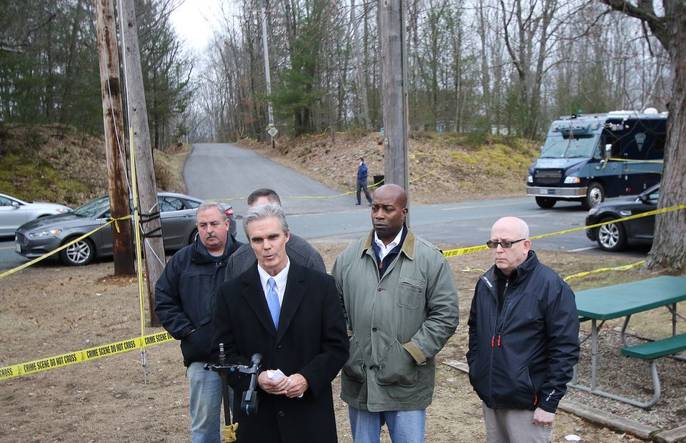 Worcester District Attorney Joseph D. Early Jr.  spoke on the death Sara Bermudez and her three children, outside of her home on Saturday.