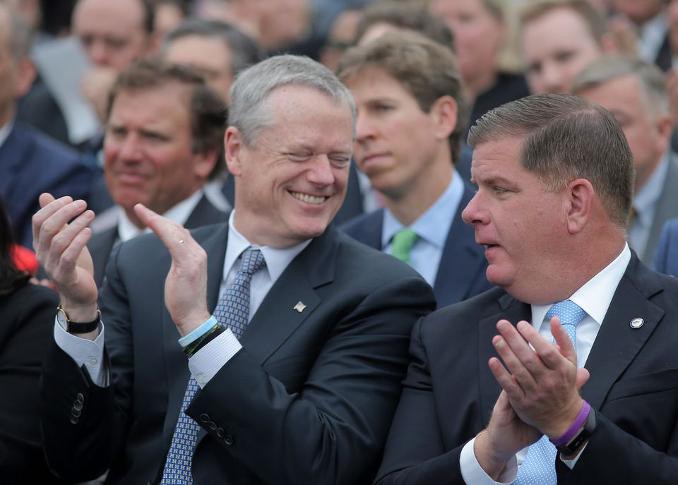 Governor Charlie Baker (left) and Mayor Martin J. Walsh will head to Washington during Infrastructure Week.