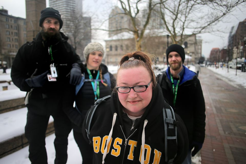 Amy Palmer with the outreach workers who helped her, (from left) Michael Bunch, Shiva Kuczinski, and Brian Gossling.