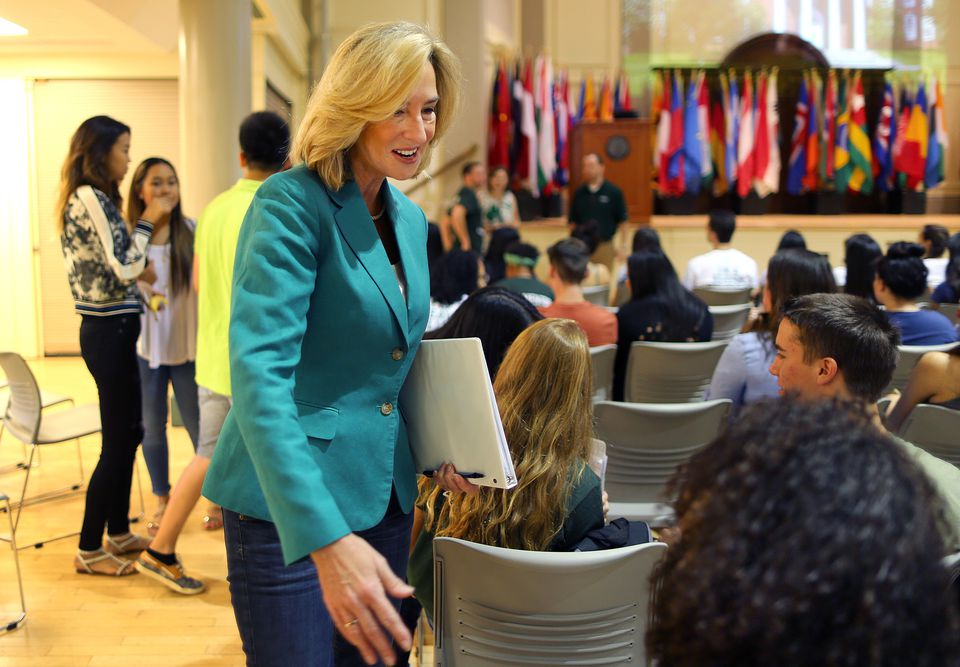Babson College President Kerry Healey spoke last weekend with incoming freshmen for the Class of 2019, which is the first in the school's history with a majority of women.