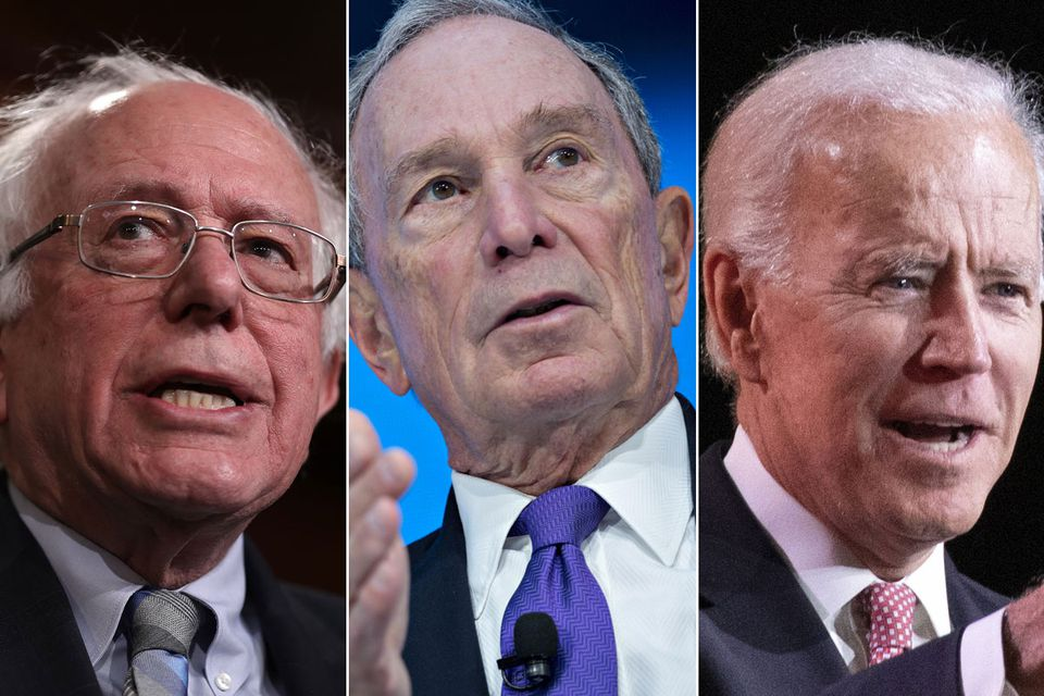 Senator Bernie Sanders  (left), former New York City mayor Michael Bloomberg (center), and former vice president Joe Biden are in their mid to late 70s.
