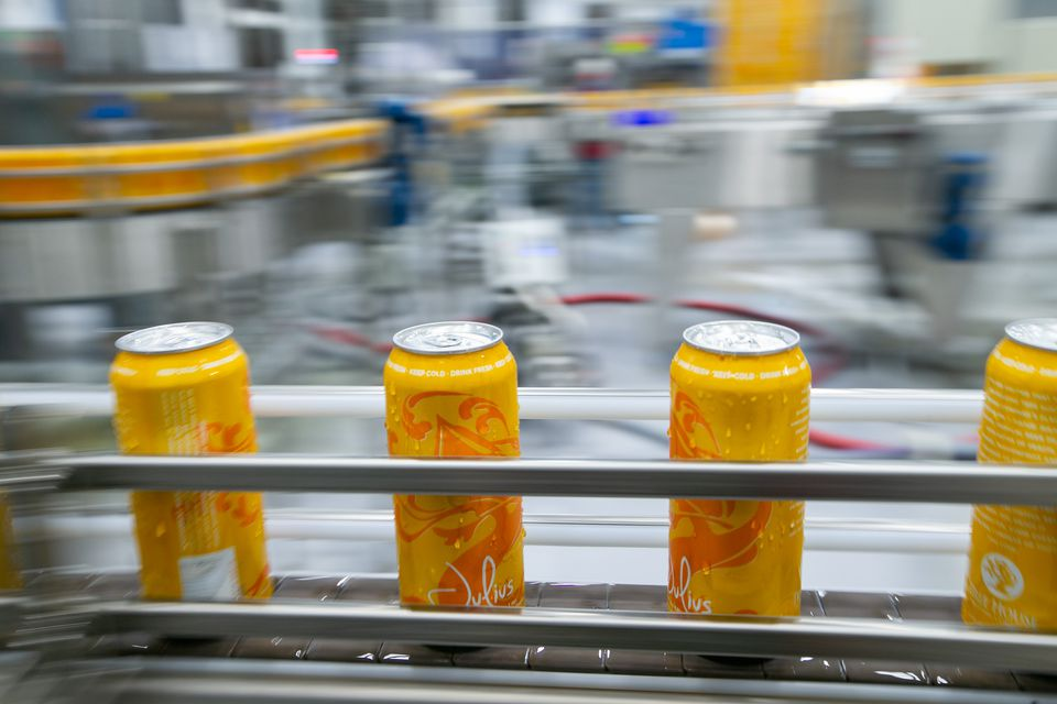 Cans of Tree House Brewing Company's New England IPA Julius made their way down the canning line.