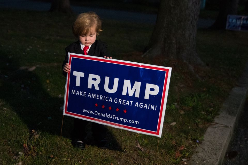 Hunter Tirpak, 2, received national attention when Donald Trump noticed his costume and brought him onstage during a rally in Wilkes-Barre, Pa.