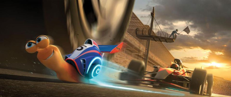 """The title character (voiced by Ryan Reynolds) in a scene from """"Turbo,"""" directed by David Soren."""