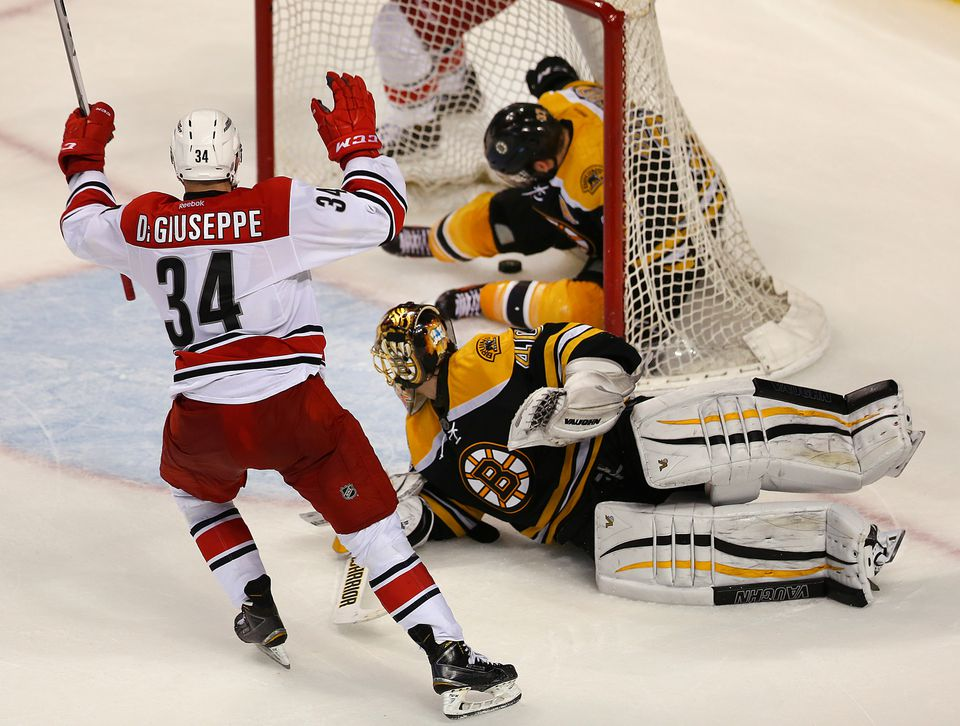 The overtime goal of Phillip Di Giuseppe was made possible by a play from teammate Noah Hanifin.