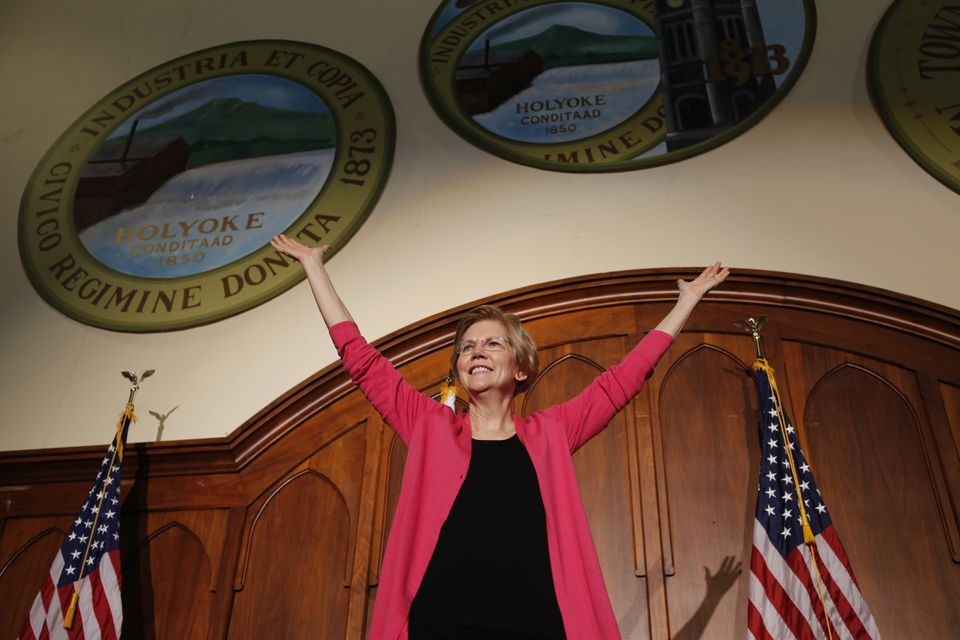US Senator Elizabeth Warren spoke at a town hall meeing in Holyoke on Saturday.