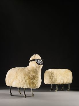 """These two """"Moutons de Laine,"""" 3-foot wool-covered aluminum, copper, and wood sculptures of sheep by François-Xavier Lalanne (the headless one on the right """"grazing""""), brought $542,500, the second highest price at Sotheby's 20th Century Design Auction. This pair of """"Calabash"""" table lamps sold at Christie's 20th Century Auction for $530,500 or more than 13 times the low of its $40,000-$60,000 estimate. Circa 1965 patinated bronze coffee table, top right, decorated with figures on a riverbank designed by the father and son team Philip and Kelvin LaVerne, sold at Skinner's 20th Century Design Auction for $21,600 or more than seven times the low of its $3,000-$4,000 estimate. Late-19th-century Minton Marc-Louis Solon pâte-sur-pâte vase depicting maidens swinging a figure of Cupid is expected to bring $20,000-$30,000 at Skinner's European Furniture & Decorative Arts Auction on Saturday."""