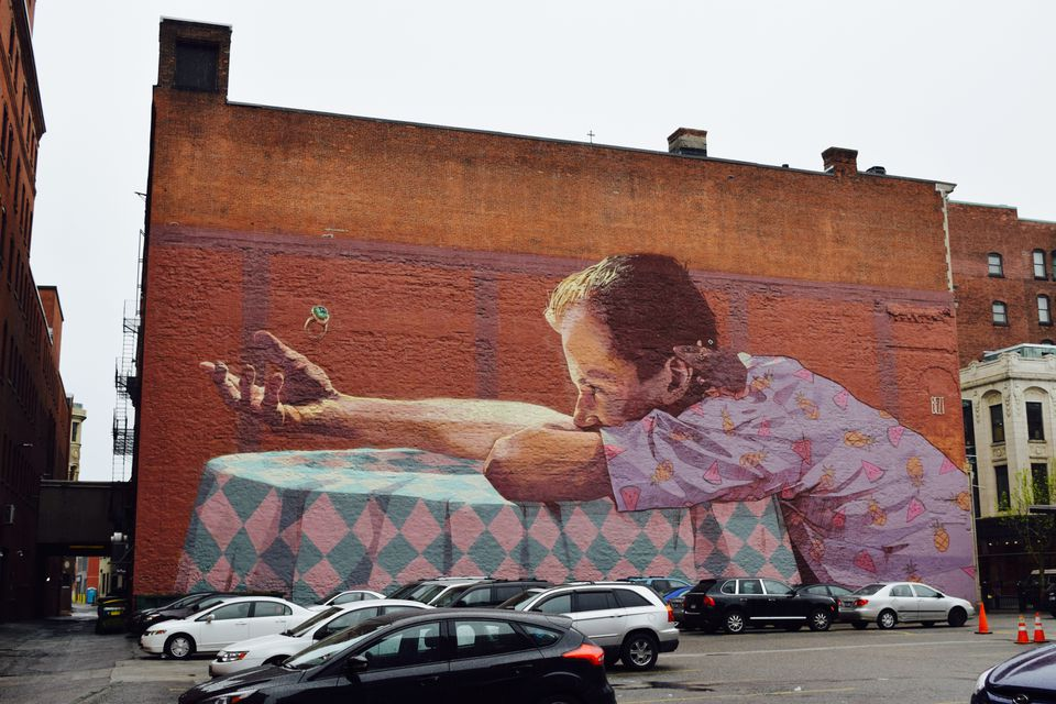 """Graffiti artists Sainer and Bezt, collectively known as Etam Cru, painted this mural called """"She Never Came."""""""