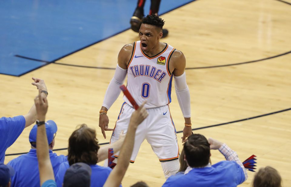 The Thunder's Russell Westbrook is not one to hide his emotions, on or off the court.
