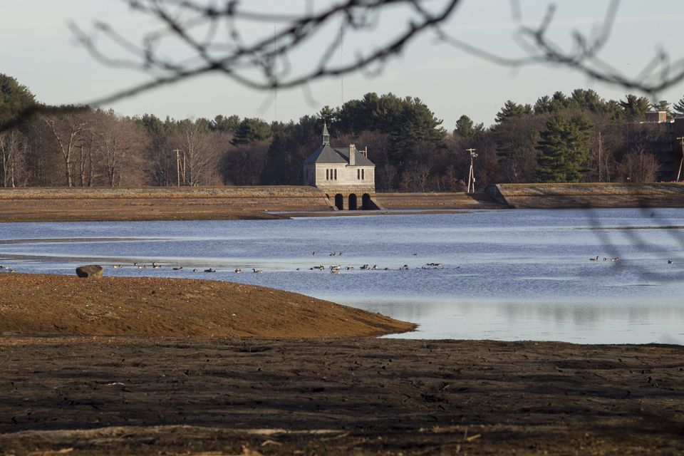 The Foss Reservoir in Framingham was recently lowered by 10 feet to combat invasive aquatic plants.