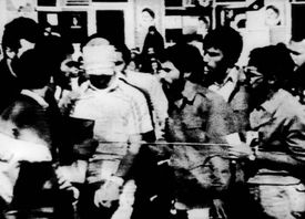 """A blindfolded hostage was paraded by his captors in the US Embassy Compound on Nov. 8, 1979, as an Iranian crowd of thousands reportedly chanted, """"death to Carter — Yankee go home."""""""