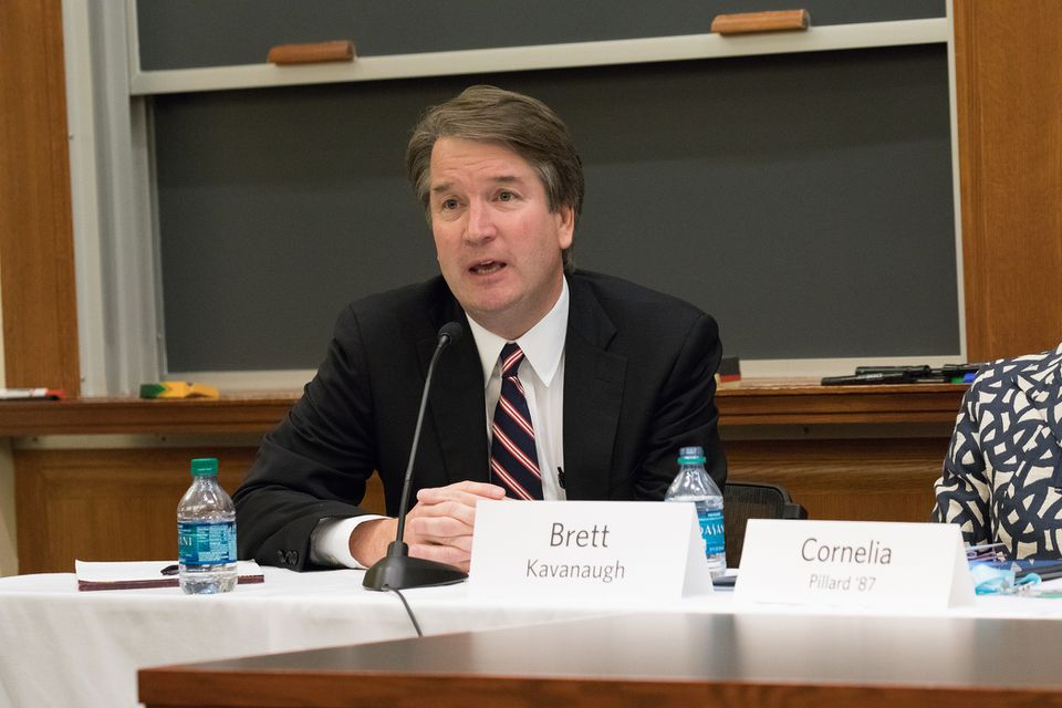 Brett Kavanaugh spoke at Harvard Law School on Oct. 27, 2017.