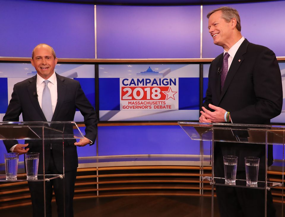 Jay Gonzalez and Governor Charlie Baker debate Tuesday at CBS Boston/WBZ TV.