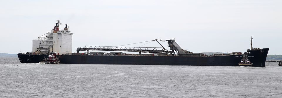 The Energy Enterprise, the coal ship that was blocked by the Henry David T., waited to dock at the Brayton Point Power Station.
