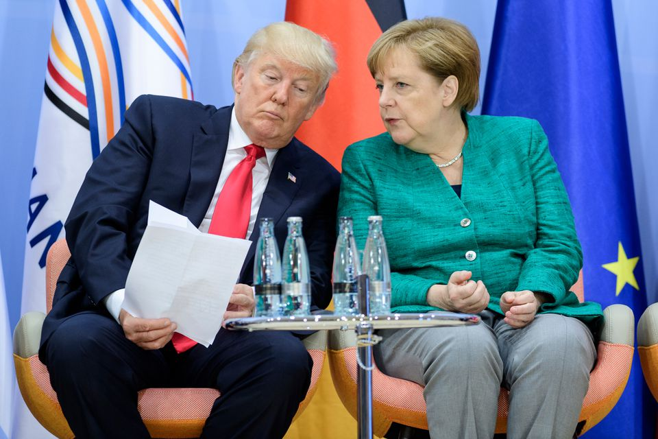 Trump and German Chancellor Angela Merkel attended a panel discussion Saturday at the G-20 summit.
