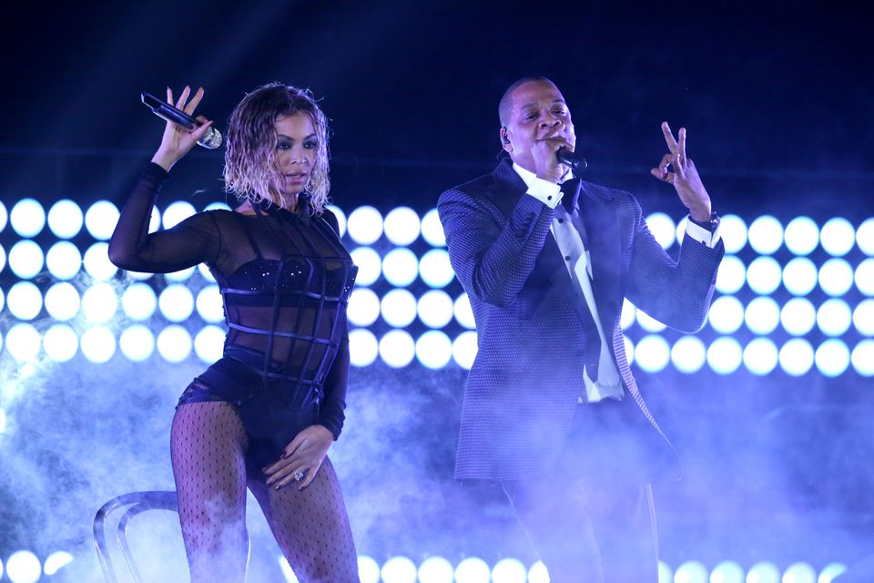 "Beyonce and Jay-Z perform <span channel=""!BostonGlobe/W1_REG-01"">""Drunk in Love""</span> at the <span channel=""!BostonGlobe/W1_REG-01"">56th annual </span>Grammy Awards<span channel=""!BostonGlobe/W1_REG-01""> in Los Angeles late last month</span>."