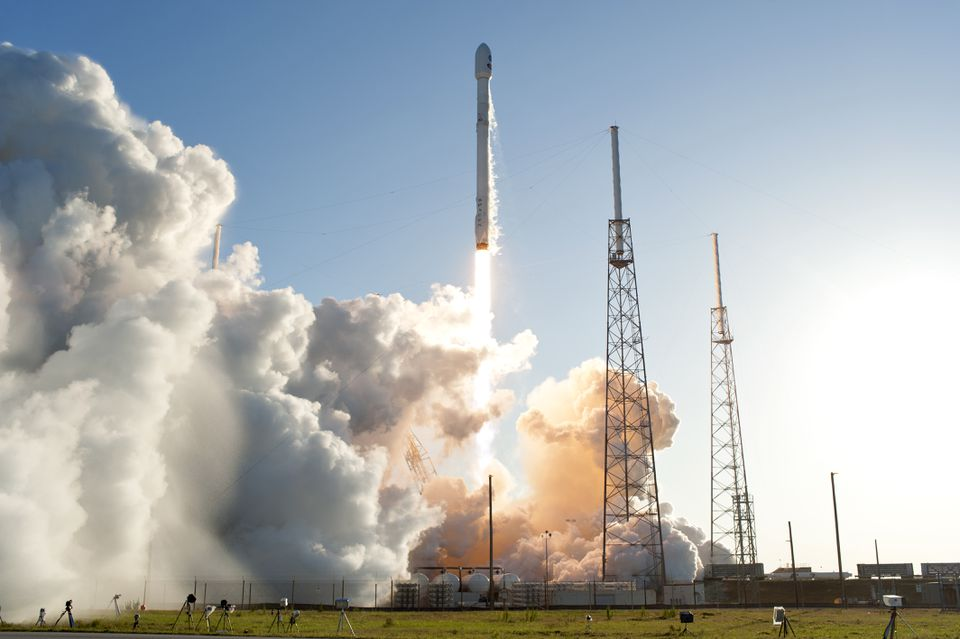 A SpaceX Falcon 9 rocket lifted off in April 2018 from Space Launch Complex 40 at Cape Canaveral Air Force Station in Florida, carrying NASA's Transiting Exoplanet Survey Satellite (TESS).