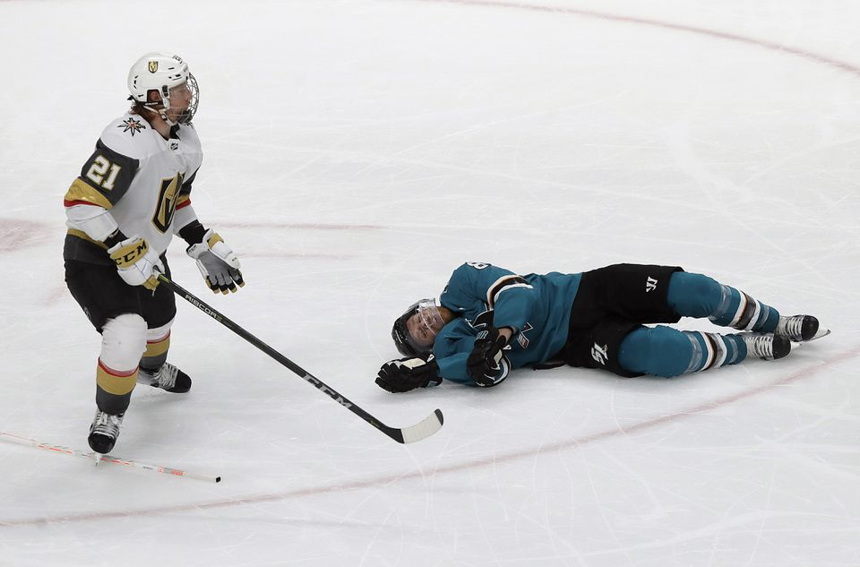 The Sharks' Joe Pavelski on the ice after being hit by the Golden Knights' Cody Eakin during their first-round playoff series.