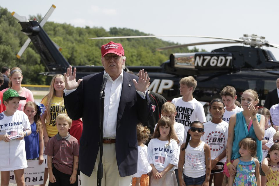 Donald Trump spoke to reporters after arriving in Iowa on Saturday.