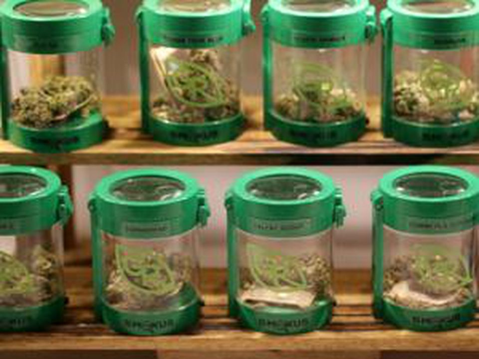 Marijuana was on display at a medical dispensary in Newton. Most likely, the only places that will have marijuana in stock in July will be some of the 22 currently operating medical dispensaries.