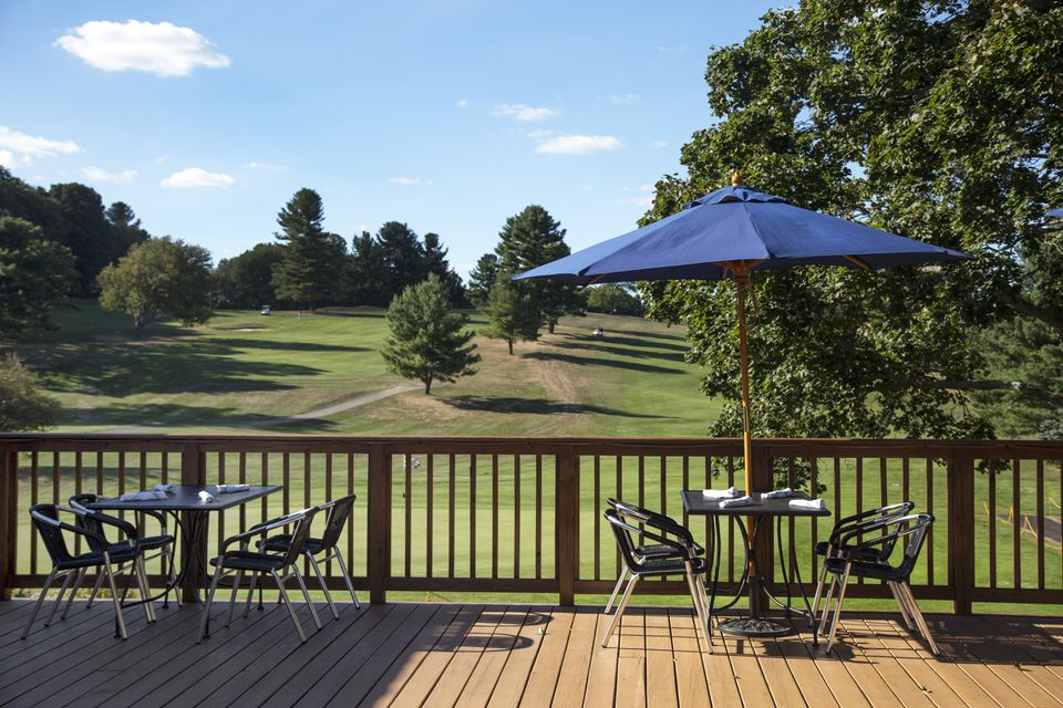 The outside deck overlooking the golf course at Civic Kitchen + Drink in Westborough.