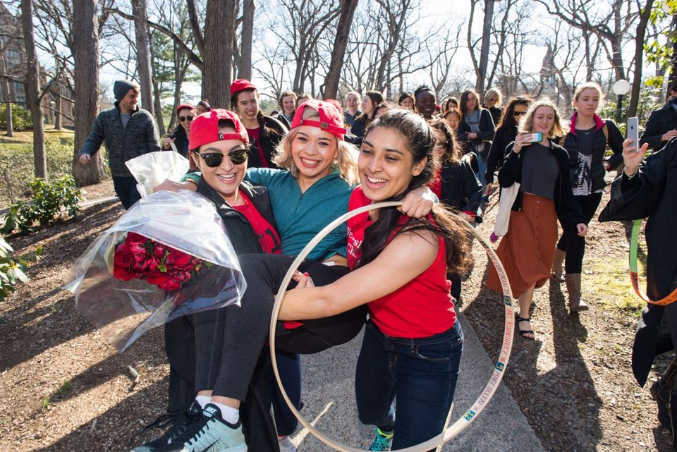 Students participated in the hoop race at Wellesley College.